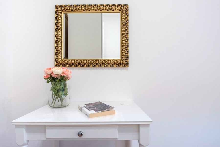 The dressing table in an apartment for tourists in Zagreb, Croatia